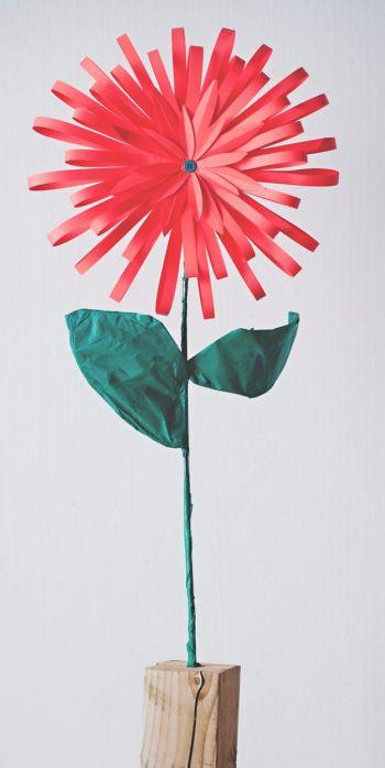 Diy bright paper flower in a pot