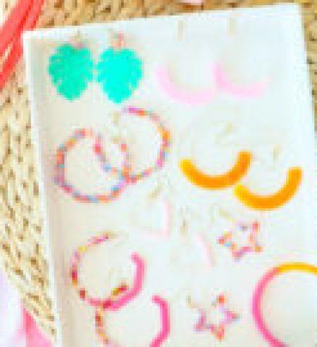 Diy colorful resin earrings