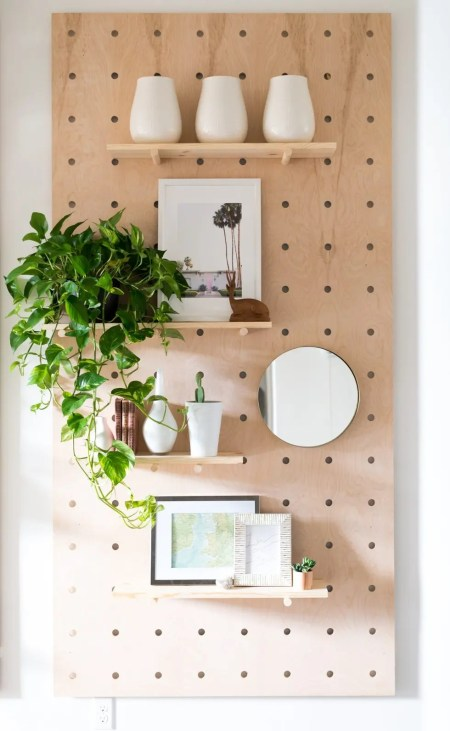Functional pegboard on the wall