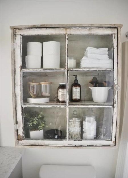Old window bathroom cabinet