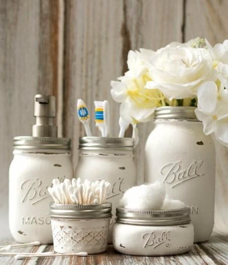 Simple mason jar bathroom storage accessories