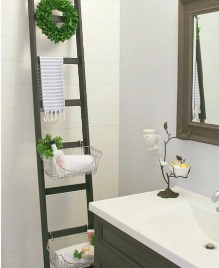 Super simple diy bathroom storage ladder