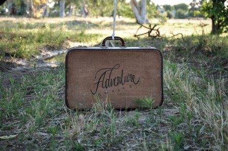 Suitcase with elegant letters