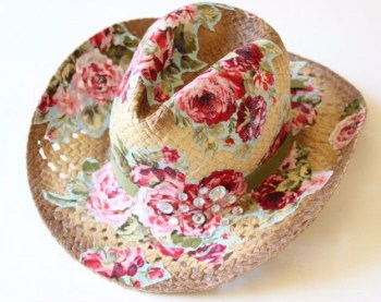 A cowboy hat with mod podge