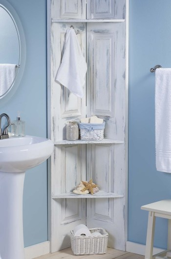 Diy bathroom corner shelves
