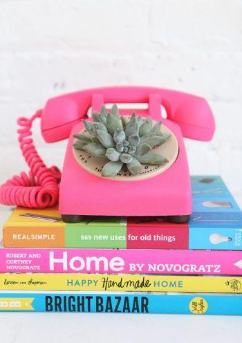 Diy rotary phone succulent planter