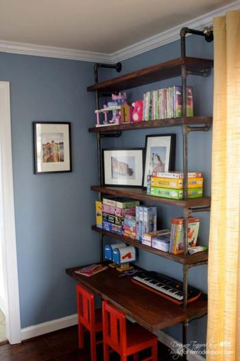 Industrial pipe shelves and desk