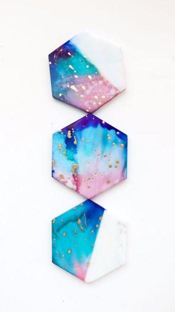 Marble coasters galaxy diy