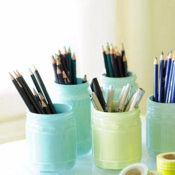Painted pastel jars pencil holders