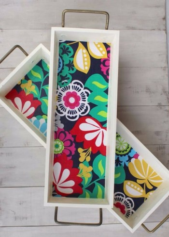 Wood stacking trays with mod podge