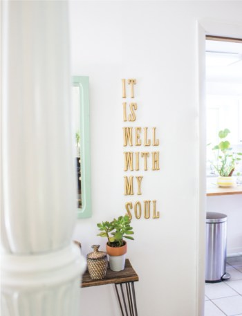Diy letters on living room wall