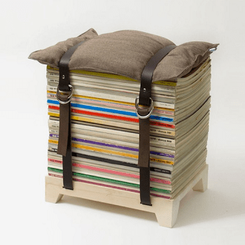 Maganize stool Pretty DIY Stool Ideas You Can Create From Scrap Materials