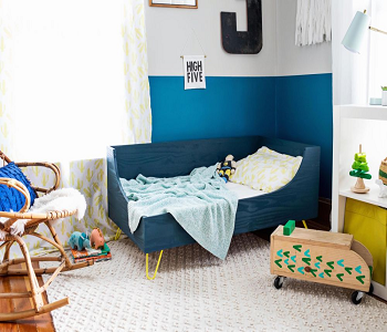 Modern toddler bed with hairpin legs DIY Toddler Bedroom Ideas For More Comfortable Spot