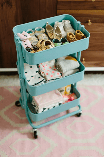 Repurpose ikea trolley cart Smartly Stylish DIY Ideas To Organize Your Baby Clothes And Accessories
