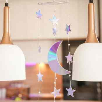 Upcycled baby moon and stars