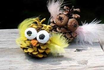 Diy cute pinecone owls
