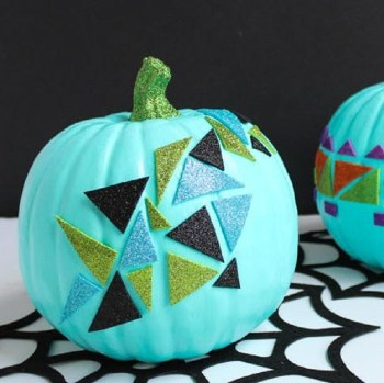 Diy easy geometric glitter pumpkin