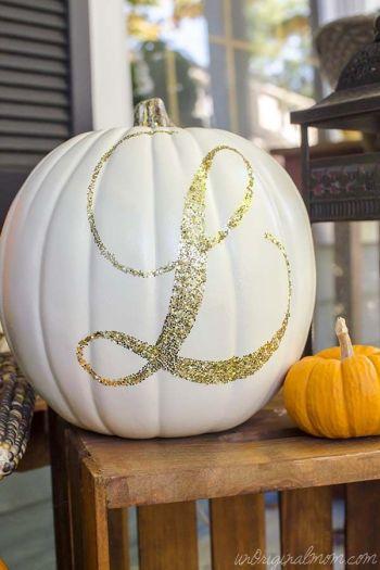 Diy glitter monogram pumpkin
