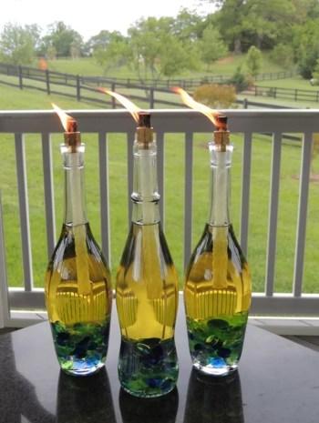 Diy wine bottle outdoor torch