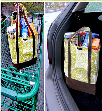 Fabric color blocked grocery bag with durable handles DIY Fancy Reusable Grocery Bags Ideas To Show Your High Style