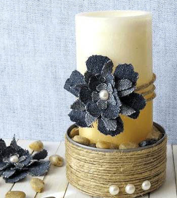 Woodsy twine bound candle holder Turn Trash To Treasure Projects From Tin Can That Also Appealing
