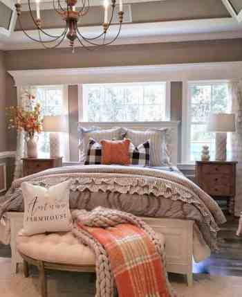 Cozy fall decorated bedroom