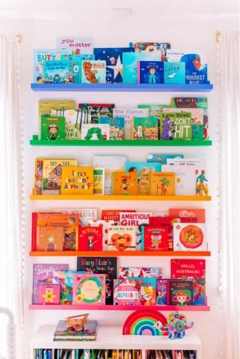 Diy beautiful rainbow shelves