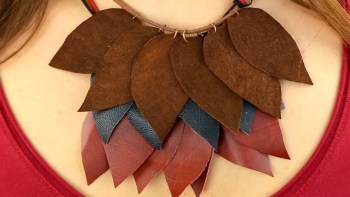 Diy leather leaf layered necklace