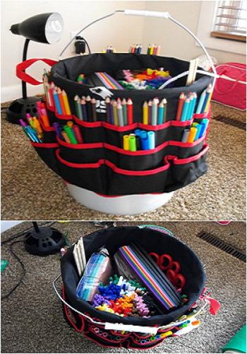 Upcycled bucket art studio storage Speechless DIY Ideas For Repurposing Five Gallon Buckets