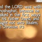 2 Chronicles 17: 3 And the LORD was with Jehoshaphat, because he walked in the first ways of his father David, and sought not unto Baalim;