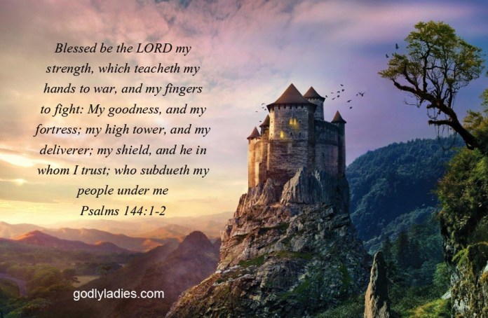 Psalms 144:1-2 Blessed [be] the LORD my strength, which teacheth my hands to war, [and] my fingers to fight: 2 My goodness, and my fortress; my high tower, and my deliverer; my shield, and [he] in whom I trust; who subdueth my people under me