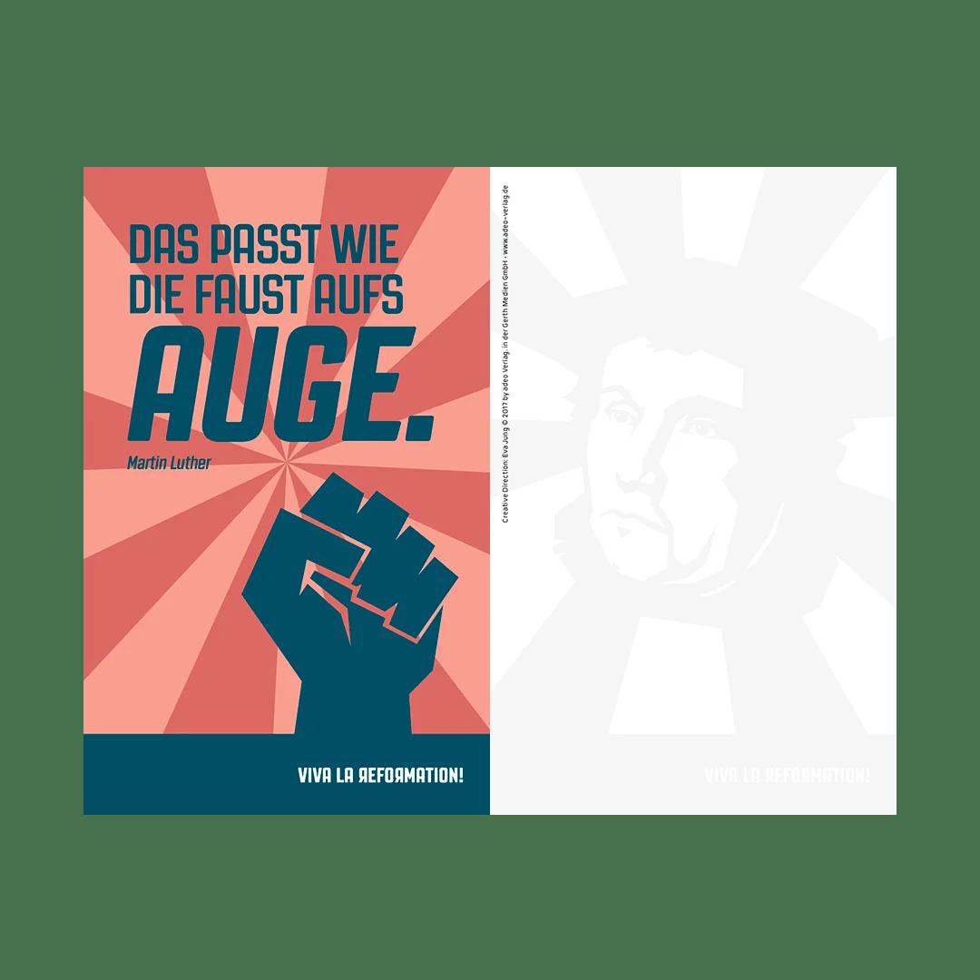 Viva la Reformation, Kartenset, Eva Jung, godnews, gobasil, Martin Luther, Zitate, Beispielkarte, Vorder- und Rückseite