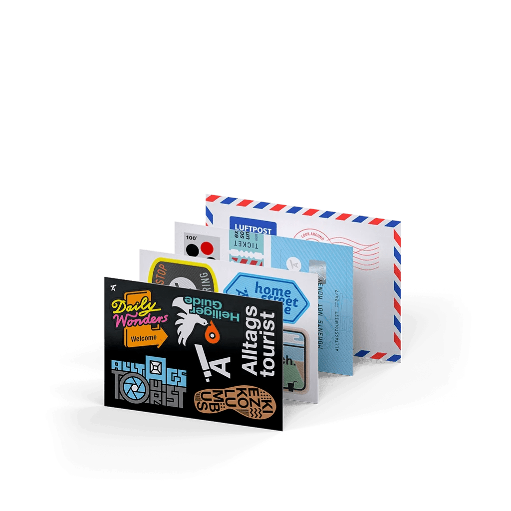 Alltagstourist, Eva Jung, Sticker, Luftpost, Daily Wonders, Heiliger Guide, Kiezkolumbus,