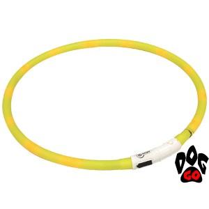 Светящийся ошейник для собак CROCI с USB зарядкой, силикон, 70см, Жёлтый
