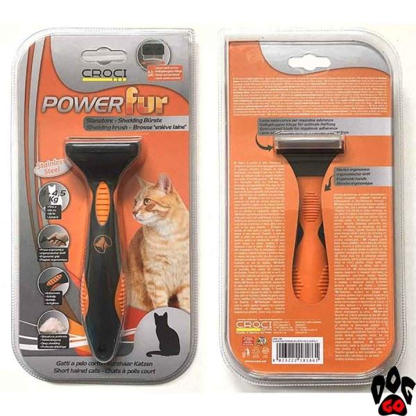 """Фурминатор для кошек с короткой шерстью CROCI """"POWERfur"""" S (3-4.5 кг) 4.5 см"""