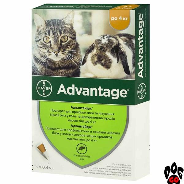 Адвантейдж для котят и кошек весом до 4 кг от блох, клещей (№40), цена за 1 пипетку