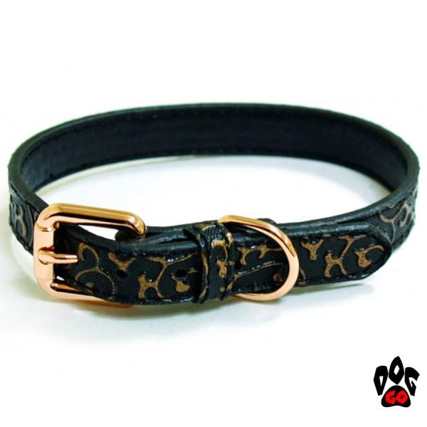Ошейник CROCI для собак KALIKA DECO из искусственной кожи, чёрный с золотистым (1x25, 1.5x35, 2x40 см)
