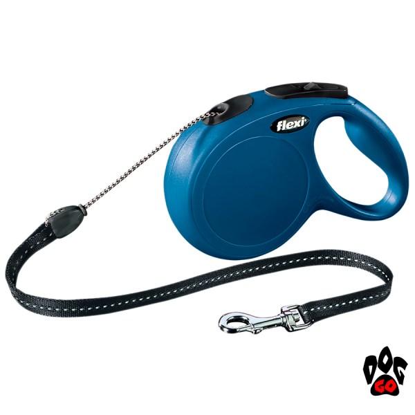 Рулетка FLEXI Classic M, 8 метров, до 20 кг, шнур, синий