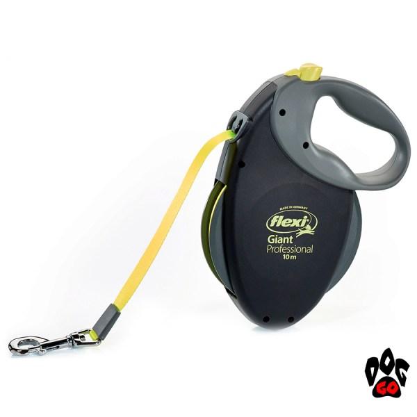 Рулетка FLEXI Giant Professional Neon L, 10 метров, до 50 кг, лента, черный с желтым