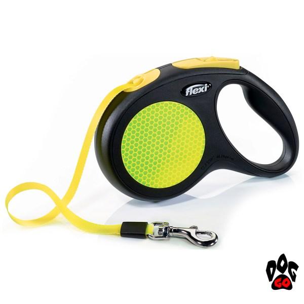 Рулетка FLEXI Neon M, 5 метров, до 25 кг, лента, черный с желтым