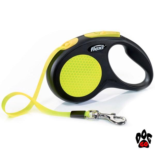 Рулетка FLEXI Neon S, 5 метров, до 15 кг, лента, черный с желтым