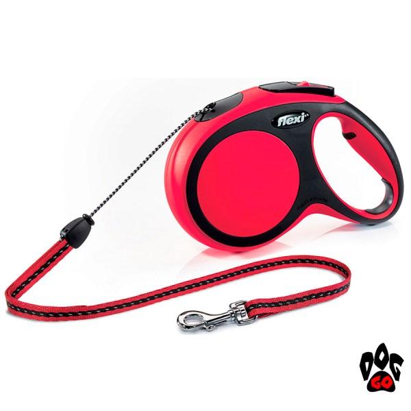 Рулетка FLEXI New Comfort M, 5 метров, до 20 кг, шнур, красный