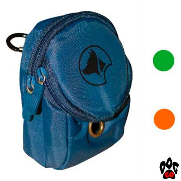 Сумка для прогулки с собакой CROCI HIKING, для лакомства и пакетов (с карабином) 7,5x4x11см (оранжевый, зелёный)