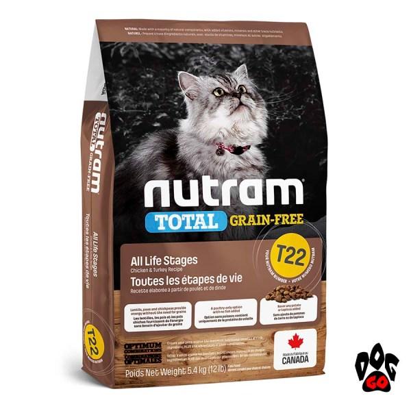 Беззерновой корм для котов NUTRAM T22 с индейкой и курицей 20 кг