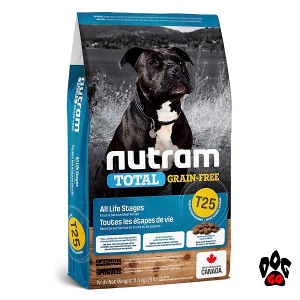 Гипоаллергенный корм для собак NUTRAM T25, холистик, беззлаковый, лосось и форель 11.34 кг