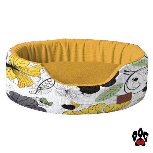 Лежаки для собак CROCI COZY FLO, овальный, оранж/цветы-1