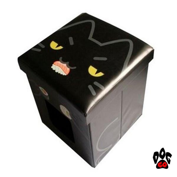 Пуфик для кота с домиком CROCI Catmania Black Cat, для интерьера, черный, 38х38х38см-2