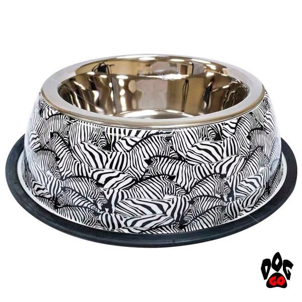 Миска для собак, нержавейка CROCI Animalier Leopard, Zebra с резиновым основанием, принт-2