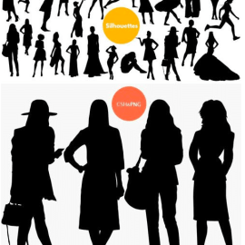 30 Woman Silhouette Photoshop Shapes Free Download