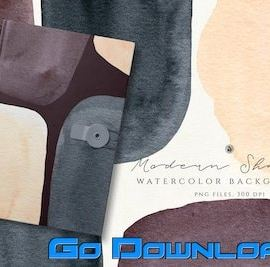 CreativeMarket Watercolor Backgrounds Modern Shapes Free Download